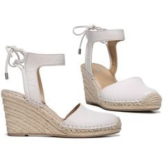 Women's Franco Sarto Espadrille or MulesMariska Espadrille... ($45) ❤ liked on Polyvore featuring shoes, pumps & heels, woven shoes, white shoes, white espadrilles, ankle strap wedge shoes and wedge heel shoes