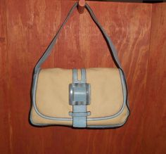Adrienne Vittadini Beige Canvas & Light Blue Leather Handbag Purse #AdrienneVittadini #ShoulderBag   http://stores.ebay.com/The-House-Of-Two-Karat