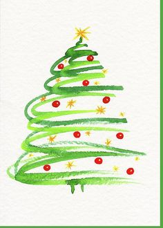 Painted Christmas Cards, Watercolor Christmas Cards, Christmas Tree Painting, Christmas Card Crafts, Noel Christmas, Christmas Tree Decorations, Handmade Christmas, Holiday Crafts, Simple Christmas Tree Drawing