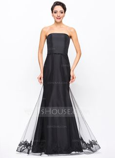 [US$ 139.99] Trumpet/Mermaid Strapless Floor-Length Taffeta Tulle Evening Dress With Beading Appliques Lace