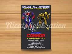 Transformers Inspired Design Invitation - Digital File