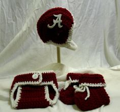 Crochet Alabama Baby Football Helmet Hat Diaper Cover by CDBSTUDIO, $36.99