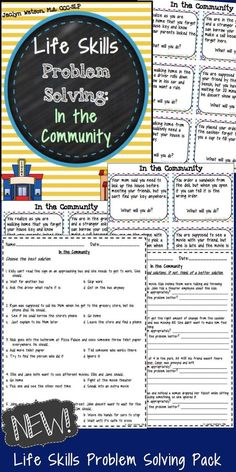 This life skills problem solving pack is for middle/high school students with autism or social challenges. Spark discussion about reasoning while out in the community with these task cards and worksheets.