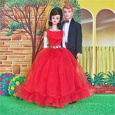 Rare '64 - '65 Midge doll exclusive to Japanese market wearing 'Junior Prom.' Vintage Allan doll and original 'New' Dream House from 1964.