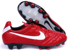 the latest e849b 59467 Nike Tiempo Legend IV Elite FG Mens Firm Ground Soccer Cleats( Red and  White)