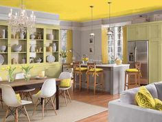 kitchen and dining room painted with Clark+Kensington's Canary Melon 20C-5, custard yellow pantone color of the month march 2015 Kitchen Color Palettes, Color Schemes Colour Palettes, Neutral Color Scheme, Color Trends, Color Combinations, Yellow Ceiling, Colored Ceiling, Ceiling Color, Yellow Walls