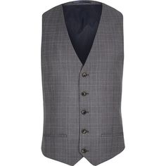 River Island Blue checked vest ($80) ❤ liked on Polyvore featuring men's fashion, men's clothing, men's outerwear, men's vests, suits, mens button up sweater vest, mens vests outerwear, mens vest and mens button down sweater vest