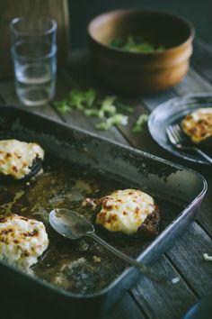 Beef Ragu Stuffed Mushrooms.