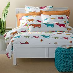 Dachshund sheets and comforter. Summer Dogs Percale Bedding | The Company Store Daschund, Dachshunds, Doggies, Wiener Dogs, Raffle Tickets, Buy Tickets, Comforter Cover, Dachshund Rescue, Dachshund Love
