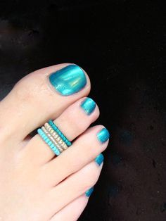 Turquoise - Silver - Light Pink- Stretch Bead Toe Ring. $5.25, via Etsy.