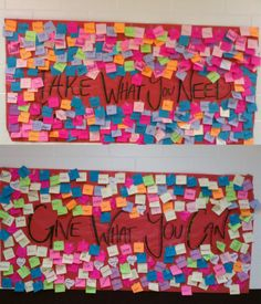 Give what you can, take what you need bulletin board