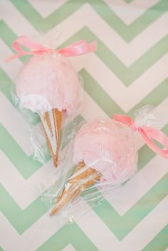 "Cotton candy ""Ice Cream Cone"" favors:"