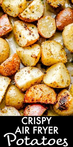 Air Fryer Potatoes - A deliciously indulgent air-fryer recipe for well-seasoned baby potatoes and drizzled with a savory herb butter. #airfryer #potatoes #sidedish