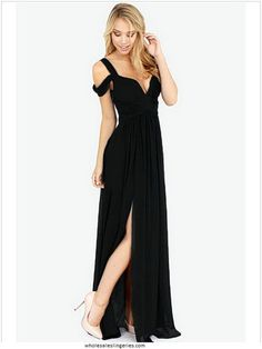 Robe soiree longue noire fendue