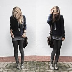 Outfits+with+Lace+Up+Boots | and heels outfit tights leather jacket and floral scarf outfit