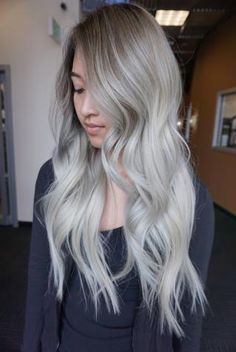 Tai Kieu ( co-owner and stylist at Huynhchi's Hair Studio, Costa Mesa, California, shares the details for this breathtaking transformation:CLIENT HAIR HISTORY:This client been getting ombre for the last one and a half years . Silver Hair Asian, Blonde Asian Hair, Silver Blonde, Platinum Blonde Hair, White Ombre Hair, Ombre Hair Color, Blonde Ombre, Balayage Hair, Haircolor