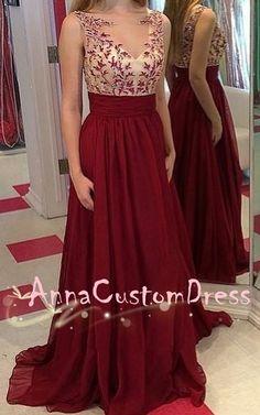 illusion V-neck Burgundy Lace Chiffon Long Prom Dress 2018 Plus Size