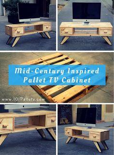 Mid-Century Inspired Pallet TV Cabinet   101 Pallets
