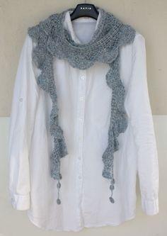 러플러플 머플러 : 네이버 블로그 Crochet Motifs, Crochet Diagram, Crochet Shawl, Knit Crochet, Crochet Baby, Diy Scarf, Lace Scarf, Crochet Scarves, Crochet Clothes