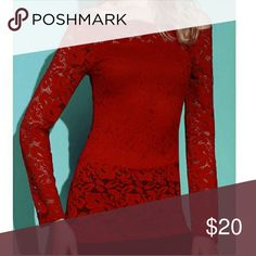 Red Off-the-Shoulder Lace Top Chic off-the-shoulder lace blouse in a dark red. Red lining in front and back. Tag displays a size larger than the actual fit. Please see measurements below.   Small - Bust: 29.92 inches, Waist: 25.98 inches, Length: 25.59 inches   Medium - Bust: 31.50 inches, Waist: 26.77 inches, Length: 25.98 inches   Large - Bust: 33.07 inches, Waist: 27.56 inches, Length: 26.38 inches Tops Blouses