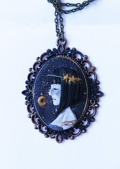 Black And White plus gold profile face cameo polymer clay