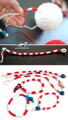 Check the way to make a special photo charms, and add it into your Pandora bracelets. How to make a Yarn Bracelet Diy Jewelry Projects, Jewelry Kits, Diy Craft Projects, Jewelry Findings, Custom Jewelry, Jewelry Crafts, Handmade Jewelry, Jewelry Making, Yarn Bracelets
