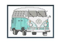 Teal VW Bus Modern Cross Stitch Pattern