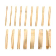 """Double Point Knitting Needles Bamboo 8"""" (~20 Cm) Bleached - Complete Set -Knitzy"""