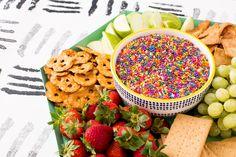 How to Make Peanut Butter Funfetti Dessert Hummus via Brit + Co