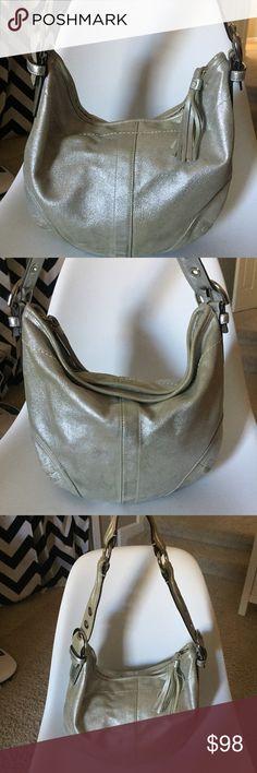 "Coach Silver Dust Leather Tortilla Handbag Coach 9690 Soho Hobo Tortilla Suede Dusted Metallic Gold Handbag 👛   Approximate measurements are 18"" x 11"" x 1"" Coach Bags Shoulder Bags"