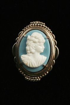 Wedgewood Blue White Cameo Pin Vintage by AuntBeasBling on Etsy