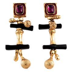 Dramatic Dangling Ear Clips by Christian Lacroix | From a unique collection of vintage clip-on earrings at http://www.1stdibs.com/jewelry/earrings/clip-on-earrings/