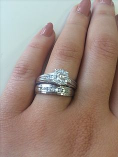 Rings on Hand - Bridal Set BR524W (Engagement Ring and Ladies Wedding Band)
