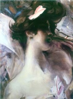 Young woman's head on a pink background - Giovanni Boldini