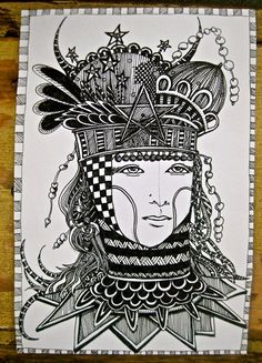 Coloring page Illustration Tarot Card Queen of by pinkflamingo61