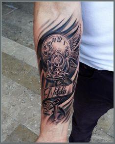 Classic clock tattoo on tattoos & ink татуировки Top Forearm Tattoos, Arm Tattoos For Guys, Body Art Tattoos, Sleeve Tattoos, Cool Tattoos, Gear Tattoo, Hannya Mask Tattoo, Tattoos Arm Mann, Father Tattoos