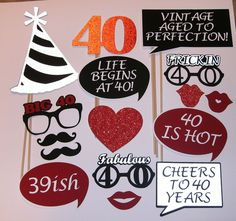 40th Birthday Photo Prop life begins at 40 Fabulous 40 (2139D)