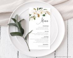 Wedding Menu Template Wedding Table Decor Dinner Menu | Etsy