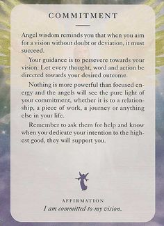 Angel Card: Monday 15th July 2013: Commitment