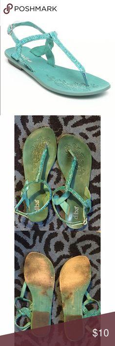 Diba Teal Sequin Sandals Diba teal sandals with sequins. Gently used. Painted bottoms are starting to wear a bit but you can't tell when they are on. Size 9.   🎉20% discount on all bundles🎉 ❌No trades❌ Diba Shoes Sandals