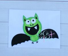 Silly Bat Halloween Applique Design - pinned by pin4etsy.com