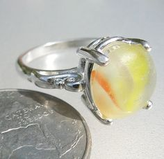 HL Sea Glass & Beach Glass Jewelry, Yellow orange Sea Glass marble ring