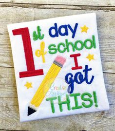 1st Day of School I got this Embroidery $ REPIN THIS then click here: https://creativeappliques.com/