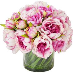 Faux Magenta Pink Peony in Glass Vase Reviews (110 CAD) ❤ liked on Polyvore featuring home, home decor, floral decor, flowers, decoration, pink, peony silk flowers, glass flower stems, artificial flower stems and silk flower arrangement