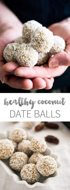 Coconut Date Balls are a great healthy treat! They are made with shredded coconut, cashew butter, and dates.