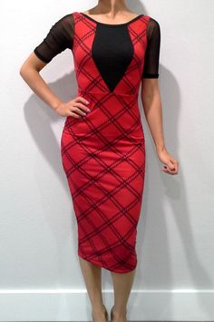 5dollarfashions.com - Long Plaid Dress with Sheer Sleeve and Scoop Back from Derek Heart! Red / Black., $5.55 (http://5dollarfashions.com/clothing/long-plaid-dress-with-sheer-sleeve-and-scoop-back-from-derek-heart-red-black/)