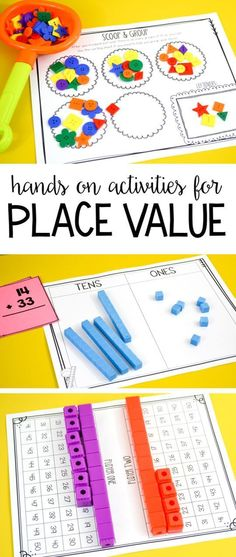 Tons of hands on place value activities, games and printables for first grade! Letter Learning https://www.amazon.com/gp/product/B075C661CM
