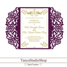 Gate-fold invitation template - SVG, DXF, ai, CRD, eps - Laser Paper Cut - Silhouette Cameo- Cricut - Instant Download 106 by TanyaStudioShop on Etsy