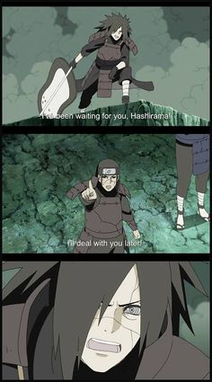 Madara's face is just PRICELESS!!! So after such a long time of hoping to see Hashirama...(around a century?)...THIS is how Hashirama responds -_-