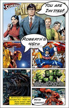 Comic Marvel HQ Heroes Invitation Digital Customizable Printable Birthday Party. €10.40, via Etsy.